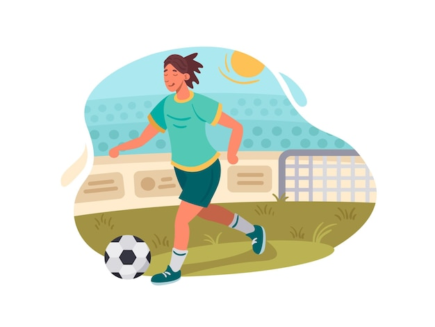 Footballer plays football. player with ball on green field. vector illustration