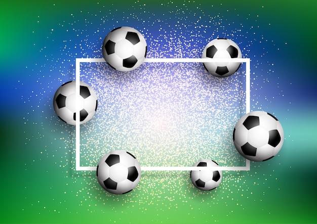 白いフレームと輝く背景にサッカー