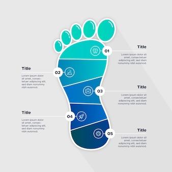 평면 디자인의 발자국 인포 그래픽