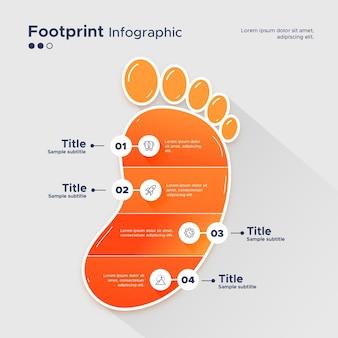 フラットなデザインのフットプリントインフォグラフィック
