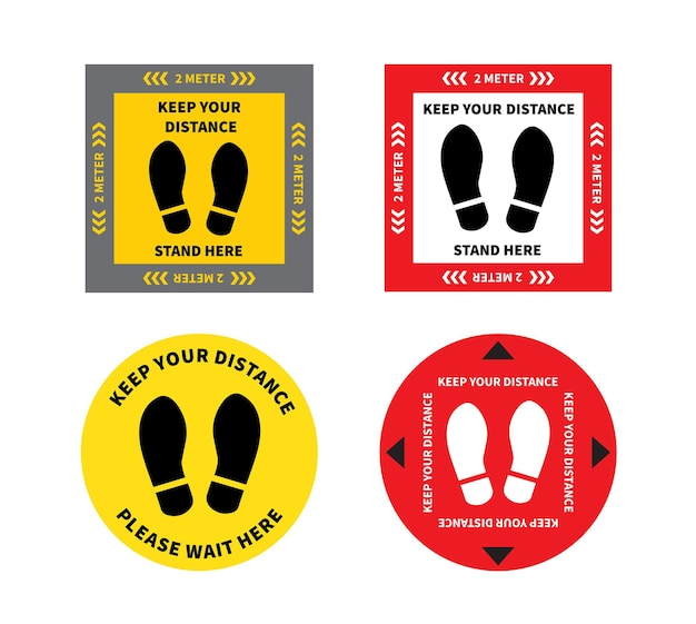 Footprint sign for stand in supermarket keep the 2 meter distance