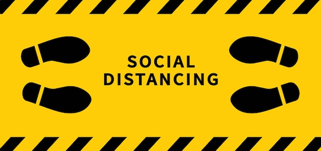 Footprint sign for stand in supermarket social distancing