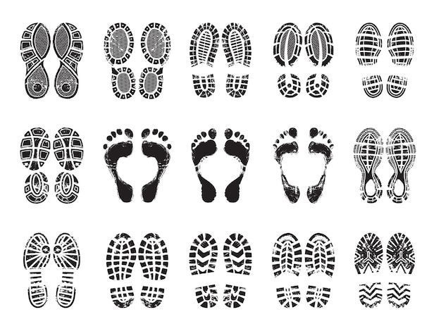 Footprint texture. silhouettes of sneakers for human male and female shoes  printing pictures