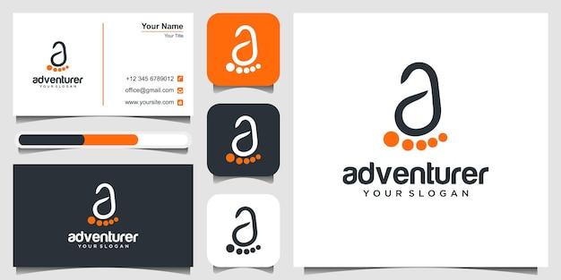 文字aのロゴデザインのインスピレーションのある足跡