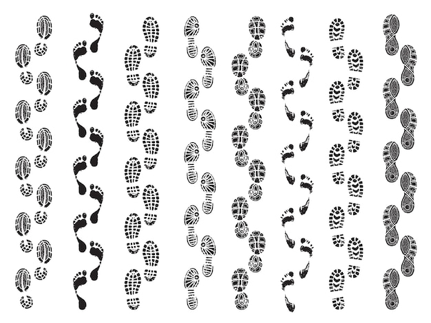 Footprints shapes. movement direction of human shoes boots walking footprints vector silhouettes