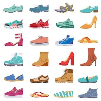 履物コレクション。男性と女性の靴、スニーカー、ブーツ、トレンディな冬、春の靴、エレガントな靴のイラストアイコンセット。女性の靴やスニーカー、ファッショナブルな靴