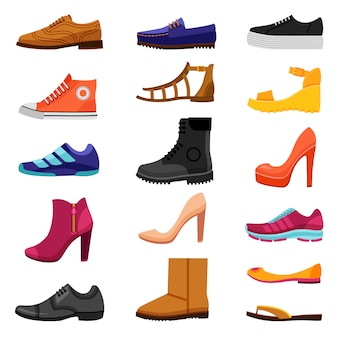 Footwear colored icons set