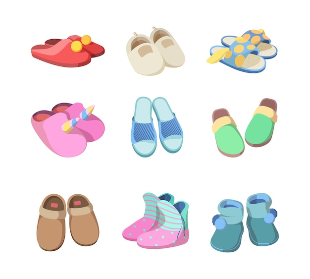 Footwear colored. textile soft slippers hotel room accessories fashioned comfort home sandals for man and woman vector. illustration soft footwear, comfortable shoe slippers