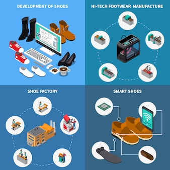 Footwear factory isometric icons set with smart shoes