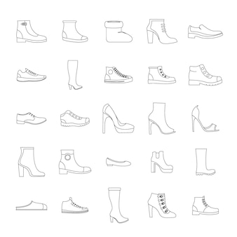 Footwear shoes icon set