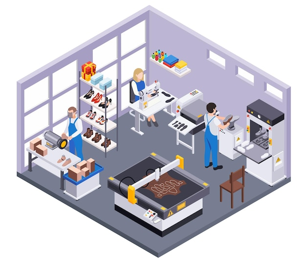 Footwear shoes production isometric composition with indoor view of room with designers and factory workers characters illustration