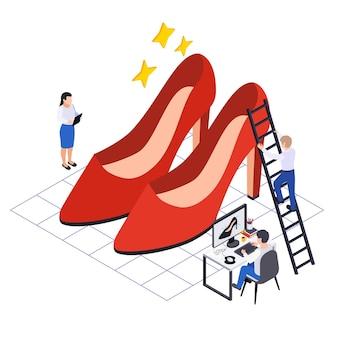 靴デザイナーと赤いヒールの靴による靴の生産