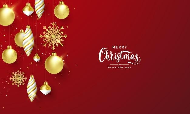 인사말 카드의 경우 황금 크리스마스 공과 호화로운 황금 눈송이가 있는 크리스마스 축하 배경의 벡터 이미지입니다.