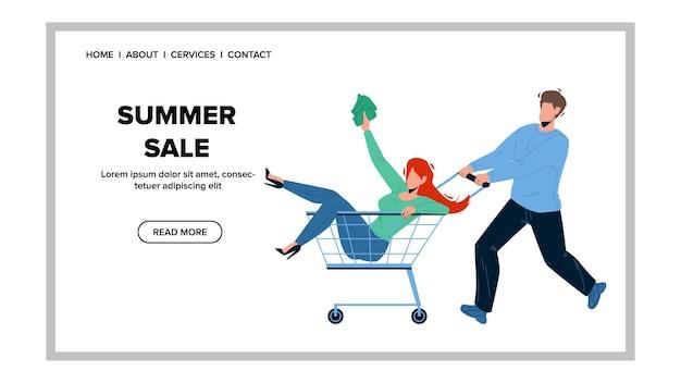 벡터를 저장하기 위해 실행하는 여름 세일 고객의 경우. 젊은 여자와 남자 커플 여름 세일에 물건을 구입하기 위해 쇼핑하려고합니다. 캐릭터 소년과 소녀 쇼핑객 웹 플랫 만화 일러스트 레이 션