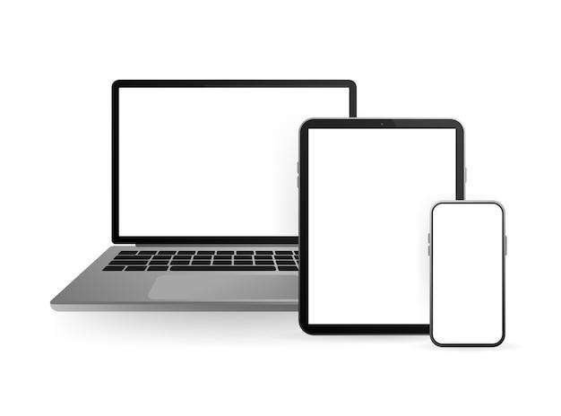 웹용. 스마트 폰 빈, 흰색, 투명 화면. 빈 화면. 상.