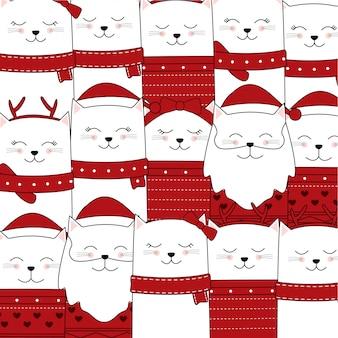 かわいい猫のパターンforクリスマス