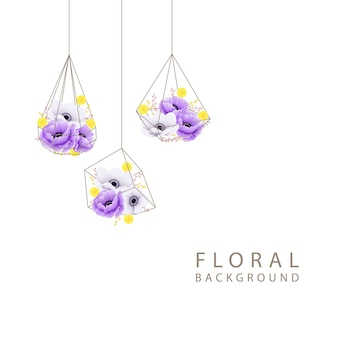 Foral background with poppy  anemone  and craspedia flower in geometric terrarium