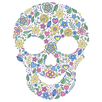 Foral skull on white background.