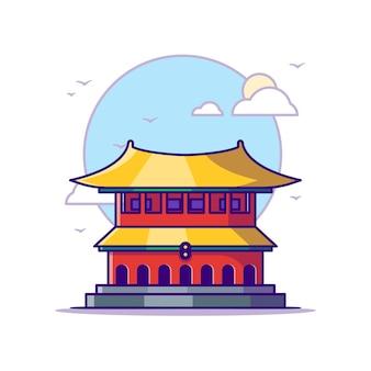 紫禁城のイラスト。ランドマークコンセプトホワイト分離。フラット漫画スタイル