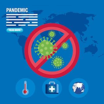 禁止標識とコロナウイルスのミニチュア