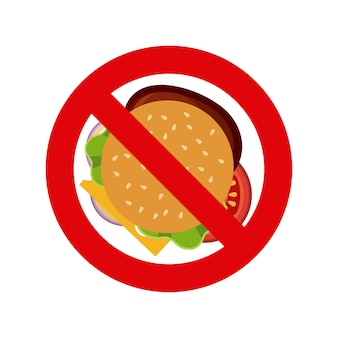 Forbidden sign with hamburger icon