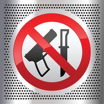 武器とナイフのシンボルが付いた禁止標識。禁止されている武器