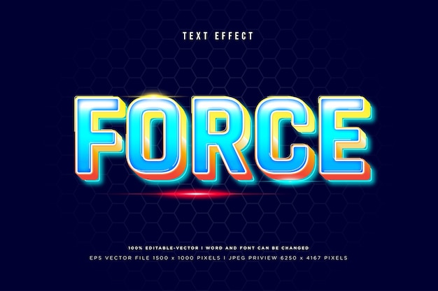Force 3d text effect on navy background