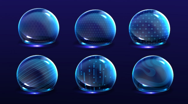 Force shield bubbles, energy glowing spheres or defense dome fields. science fiction various deflector elements, firewall absolute protection isolated