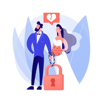 強制結婚の抽象的な概念のベクトル図です。同意なしに、意志に反して、家庭内暴力、手錠をかけ、結婚を迫る、性的虐待の抽象的な比喩を用いた、不本意な児童婚。