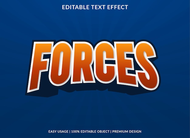 Forces editable text effect template premium style