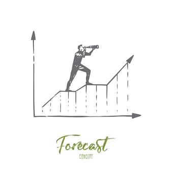 予測、グラフ、成長、進捗状況、図の概念。スパイグラスの概念スケッチを通して見ている手描きの実業家。
