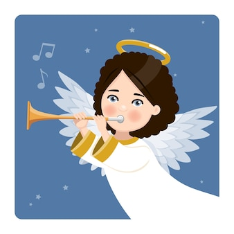 Foreground angel playing the trumpet on blue sky and stars. flat vector illustration