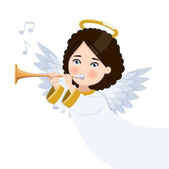 Foreground angel playing the trumpet. isolated flat vector illustration