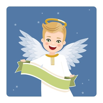 Foreground angel with ribbon on blue sky and stars. flat vector illustration