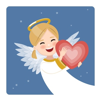 Foreground happy angel with red heart on blue sky and stars. flat vector illustration