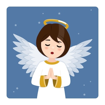 Foreground praying angel on blue sky and stars. flat vector illustration