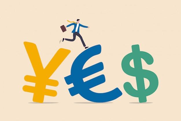 単語または投資資金フローの概念の周りの通貨間の為替取引、日本円、ユーロ、米ドルのお金の通貨記号の上を歩いてスーツを着て成功ビジネスマン投資家。