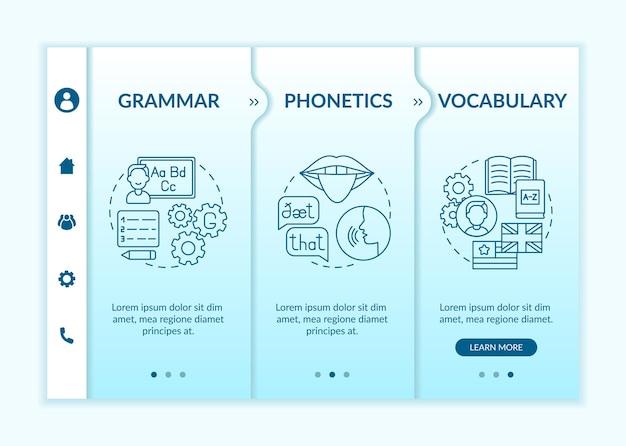 외국어 학습 카테고리 온 보딩 템플릿. 언어학, 발음, 워드 스톡. 아이콘이있는 반응 형 모바일 웹 사이트. 웹 페이지 안내 단계 화면. rgb 색상 개념