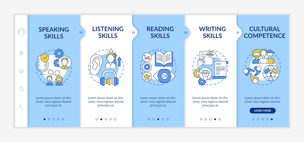 Foreign language learning competences onboarding  template. speaking, reading, writing skills. responsive mobile website with icons. webpage walkthrough step screens. rgb color concept