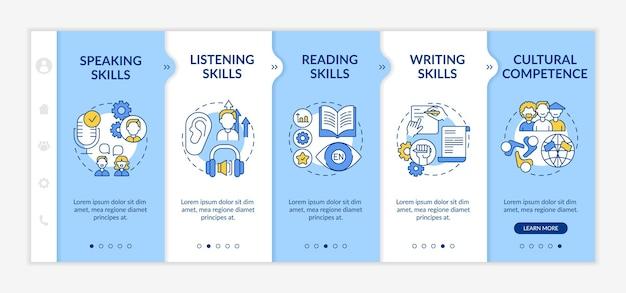 外国語学習能力のオンボーディングテンプレート。スピーキング、リーディング、ライティングのスキル。アイコン付きのレスポンシブモバイルウェブサイト。 webページのウォークスルーステップ画面。 rgbカラーコンセプト