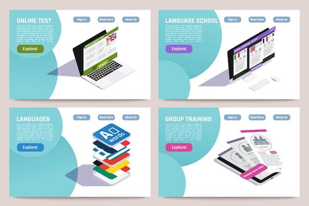 Set di pagine web isometriche di concetto 4 di apprendimento delle lingue straniere