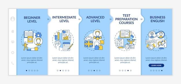 外国語学習レベルのオンボーディングテンプレート。初心者。上級レベル。試験対策コース。アイコン付きのレスポンシブモバイルウェブサイト。 webページのウォークスルーステップ画面。 rgbカラーコンセプト