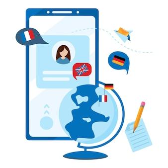 외국어 온라인 학습 모바일 앱. 온라인 학습의 개념, 언어 과정 선택, 시험 준비, 홈 스쿨링. 흰색 배경에 고립 된 평면 벡터 일러스트 레이 션