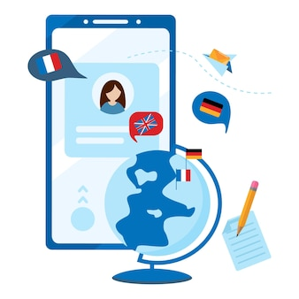 Foreign language online learning mobile app. concept of online learning, choice of language courses, exam preparation, home schooling. flat vector illustration isolated on white background