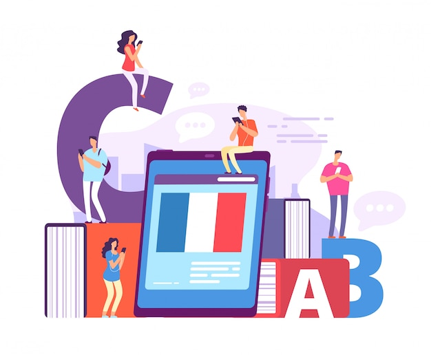 外国語のオンライン学習。オンライン教師とフランス語を勉強するスマートフォンを持つ人々。