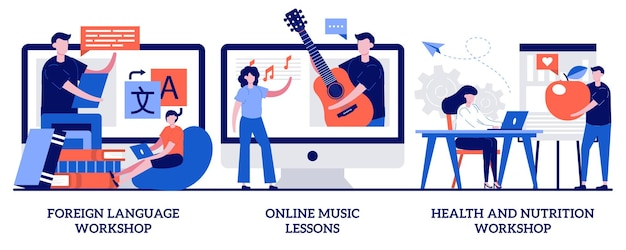 Foreign language workshop, online music lesson, health and nutrition workshop concept with tiny people. supplementary education set. native speaker course, learn cooking metaphor.