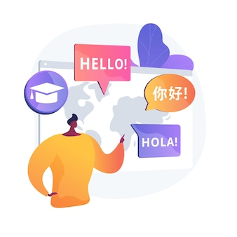 Foreign languages translating. linguistics science, machine translation, university students exchange program. language learning courses.