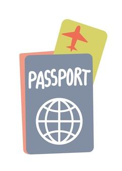 漫画のベクトルとイラストフラット手描き内の飛行機のチケットと外国のパスポート
