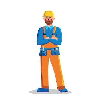 Бригадир строительный рабочий человек скрещенными руками