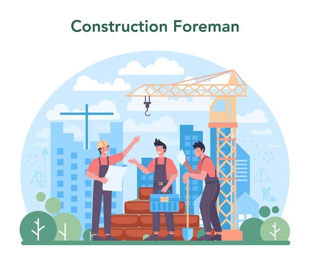 Foreman concept. flat vector illustration.